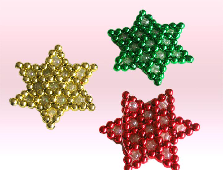 estrellas navideas en perlas decorativas