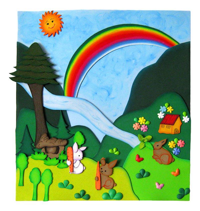 Terearte pend n paisaje con arco ris para decorar el - Paisajes infantiles para decorar paredes ...